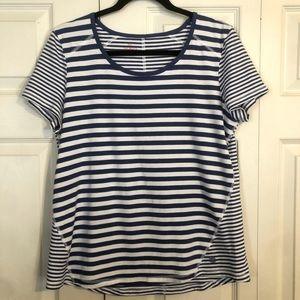 T by TALBOTS Large Cotton Modal Blue White Stripe